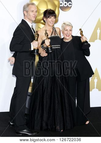 Damian Martin, Elka Wardega and Lesley Vanderwalt at the 88th Annual Academy Awards - Press Room held at the Loews Hotel in Hollywood, USA on February 28, 2016.