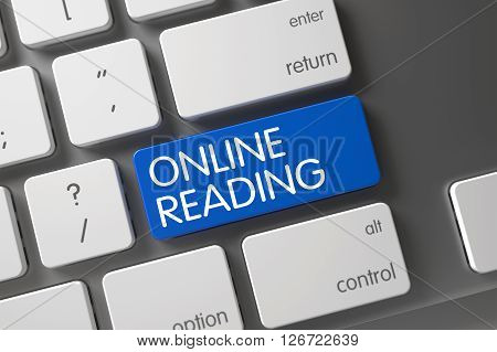 Online Reading CloseUp of White Keyboard on Laptop. Online Reading Concept: Laptop Keyboard with Online Reading, Selected Focus on Blue Enter Button. 3D Illustration.