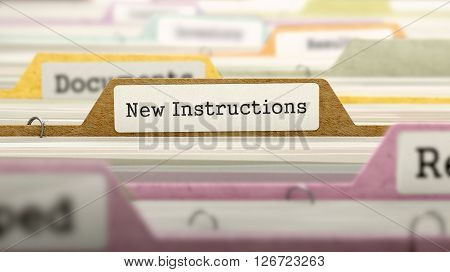 New Instructions Concept on Folder Register in Multicolor Card Index. Closeup View. Selective Focus. 3D Render.