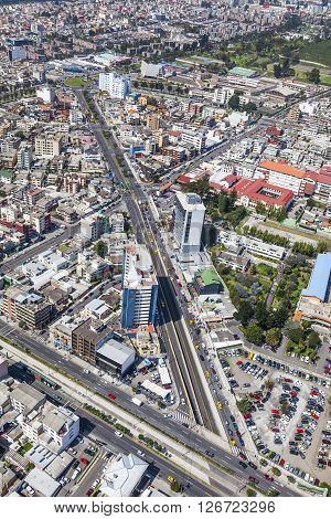 Aerial view of Quito, north central sector. Av. Atahualpa crossing the Av. 10 de Agosto and street Rumipamba forming a large X.