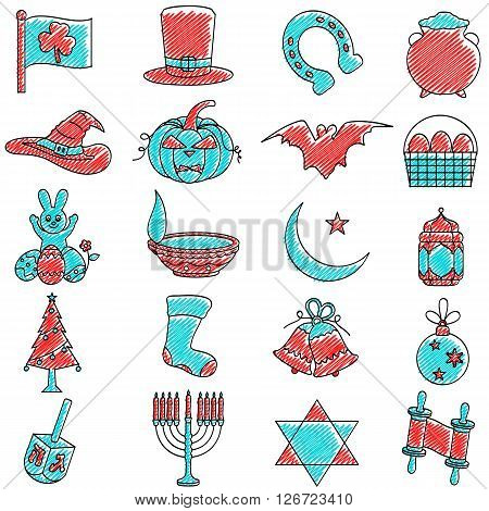 vector illustration of set of scribbled Holiday icon against isolated background