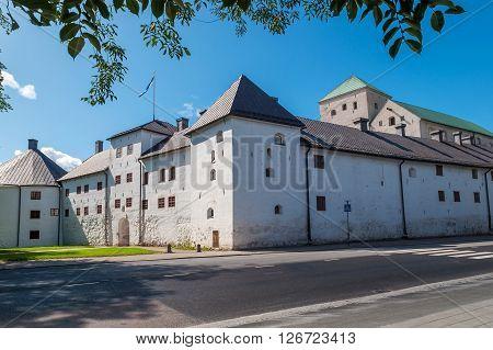 old castle of white brick  in Turku Finland