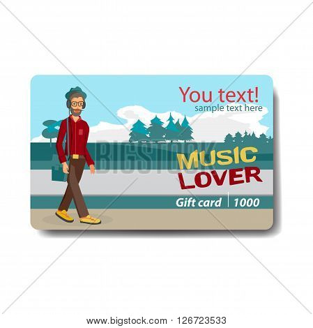 Music lover sale discount gift card. Branding design for music shop. Listening to music on outdoor theme for gift card design. Music lover hipster walking in the street with headphones