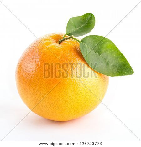 grapefruit with green leaves isolated on white background.