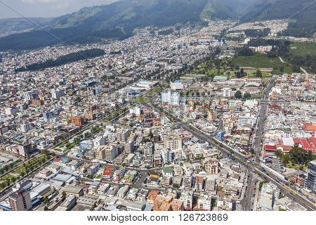 Aerial view of north central Quito sector. Av. Mariana de Jesus and Av. Atahualpa.