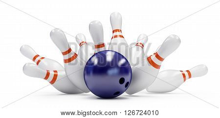 bowling strike 3D rendering on a white background
