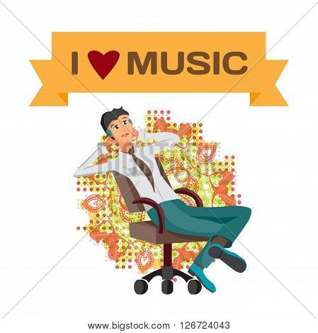 Vector modern flat design businessman wearing headphones listening music. Cartoon character of music lover enjoying his favorite track. Music lover businessman listening to music with headphones