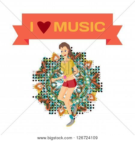 Vector modern flat design woman wearing headphones listening music. Cartoon character of music lover enjoying his favorite track. Music lover woman listening to music and playing sports jogging run