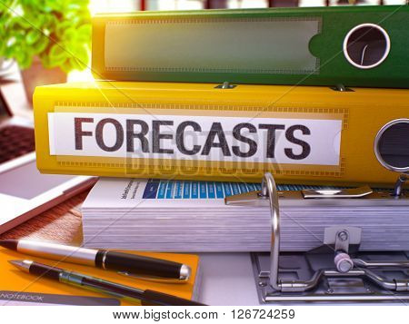 Forecasts - Yellow Office Folder on Background of Working Table with Stationery and Laptop. Forecasts Business Concept on Blurred Background. Forecasts Toned Image. 3D.