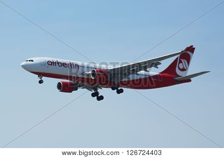 NEW YORK - APRIL 21, 2016: Air Berlin Airbus A330 descending for landing at JFK International Airport in New York