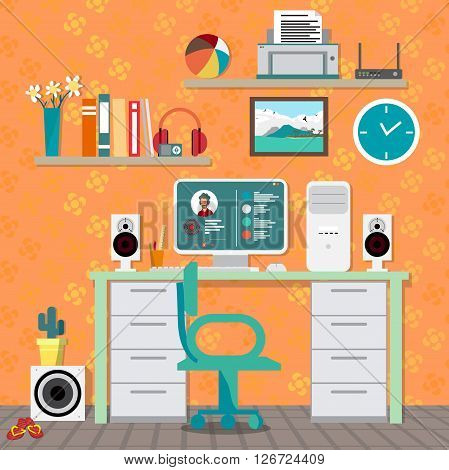 Flat modern design vector illustration concept of home workspace workplace desktop. Home work flow items essentials things equipment elements objects development tools. Interior woman's room