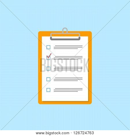 Clipboard with checklist icon. Flat style. Vector illustration. Clipboard with paper sheets on white. Vector illustration.