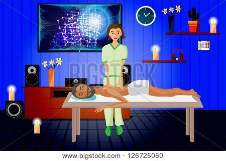 Vector illustration of man pampering herself by enjoying day spa massage back massage wellness salon in thailand interior darkened with candles and home theater
