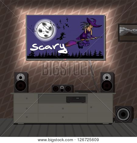 Home cinema system in interior room a film about Halloween. Home theater flat vector illustration. TV, floor loudspeakers, player, receiver, subwoofer for home movie theater and music in  apartment