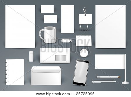 Corporate identity template. Branding design.  Letter envelope, card, catalog, pen, pencil, badge, paper cup, smartphone, letterhead, calendar
