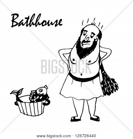 drawing cartoon man wearing a towel in the bath with a broom and a goldfish in a basin sketch comic vector illustration
