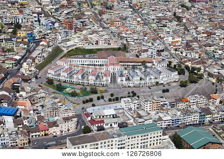 Aerial view of downtown Quito industry, Museo de Arte Contemporaneous