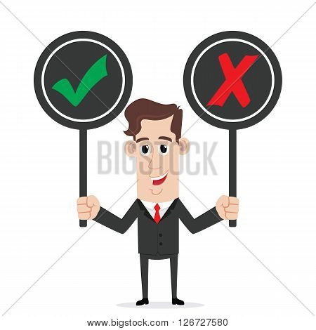 Smiling businessman holding right and wrong sign