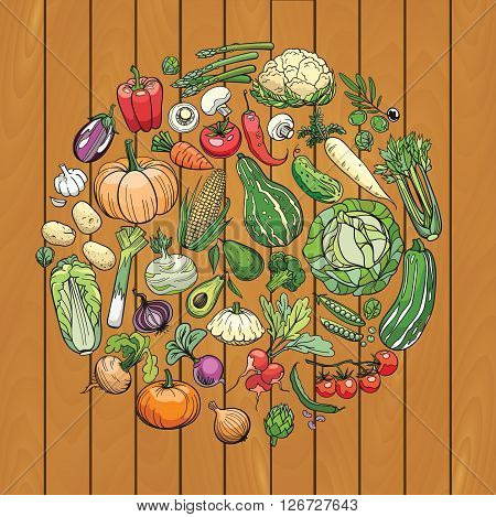 hand drawn vegetables on a wooden deck