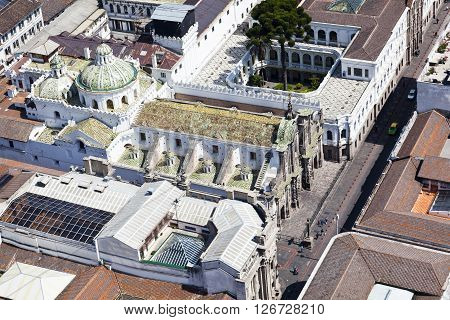 Aerial view of the colonial town of Quito church of the Company