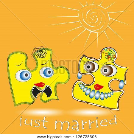 Illustration of just married