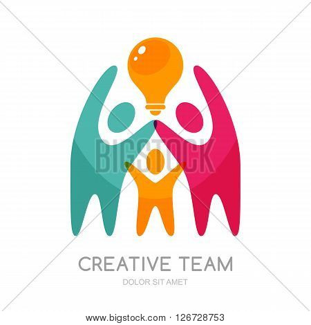 Vector Human Logo Design. Abstract Multicolor People And Light Bulb.
