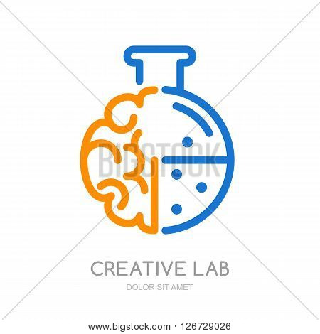 Vector logo icon symbol with brain and lab flask. Design concept for business solutions education and science development creativity. Abstract outline illustration of brain.