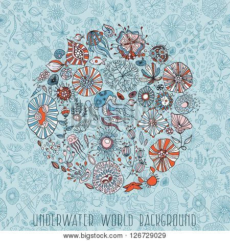 underwater life withunderwater life with different sea creatures vector