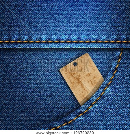 Denim pocket with a leather label on it a photo frame peeping out