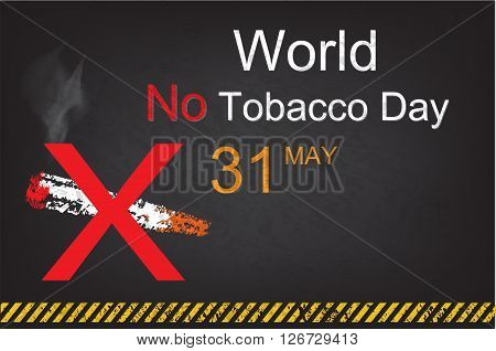 No Smoking sign on grunge background for May 31st World No Tobacco Day. Style Chalk on blackboard and warning stripes black and yellow color.
