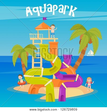 Fun Aquapark with Water Hills and Happy Children. Vector illustration