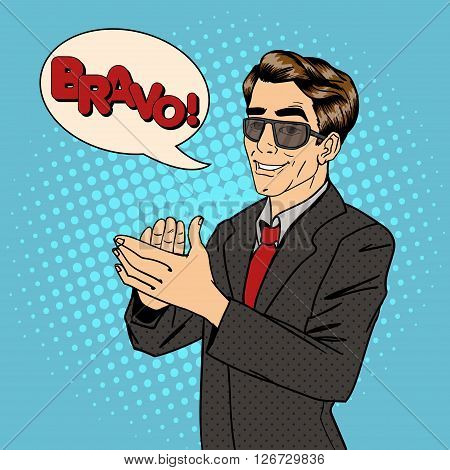 Businessman Applauds with Bubble Expression Bravo. Vector illustration