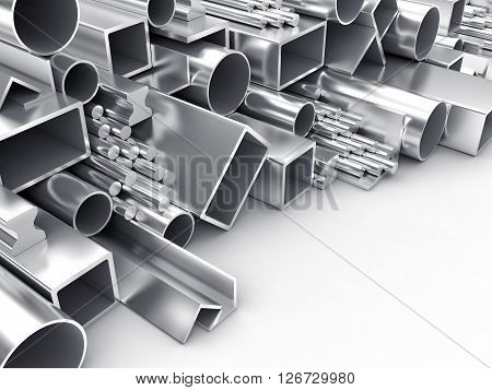 3D illustration of products of the different form from metal