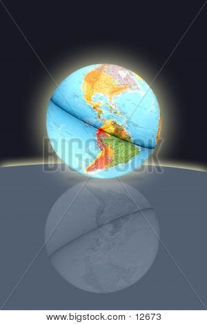Earth Globe Reflection