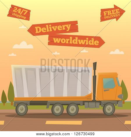 Cargo Service - Worldwide Delivery Truck. Vector illustration