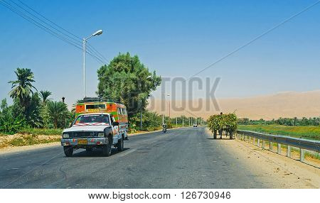 ESNA EGYPT - OCTOBER 7 2014: The intercity road connecting Esna with Luxor on October 7 in Esna.