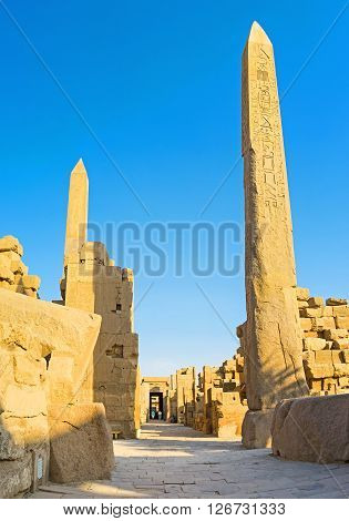 Two Obelisks of Queen Hatshepsut located next to the Temple of Amon in Karnak Complex Luxor Egypt.