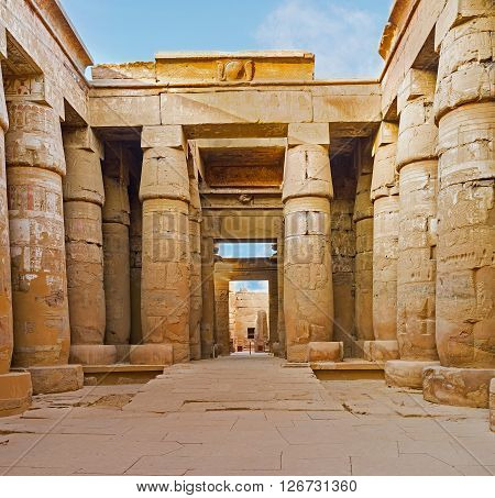The Peristyle Court of the Khonsu Temple decorated with the relief of Sacred cobras Karnak Complex Luxor Egypt.