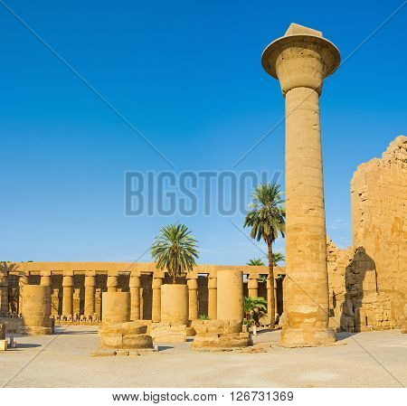 The Great Court of Karnak Temple boasts many types of the columns and rows of the Ram Headed Sphinxes Luxor Egypt.