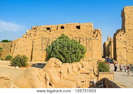LUXOR EGYPT - OCTOBER 7 2014: The Ram Headed Sphinxes in front of the First Pylon of the Karnak Temple are the visit card of this archaeological site on October 7 in Luxor.