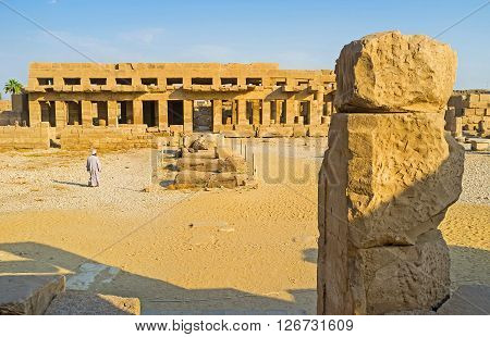 LUXOR EGYPT - OCTOBER 7 2014: The Festival Temple of Thutmose III is one of the most interesting landmarks of Karnak Complex on October 7 in Luxor.