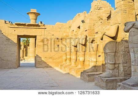 LUXOR EGYPT - OCTOBER 7 2014: The preserved parts of Temple of Ramesses III neighboring with the Great Court and the Hypostyle Hall of Karnak Temple  on October 7 in Luxor.