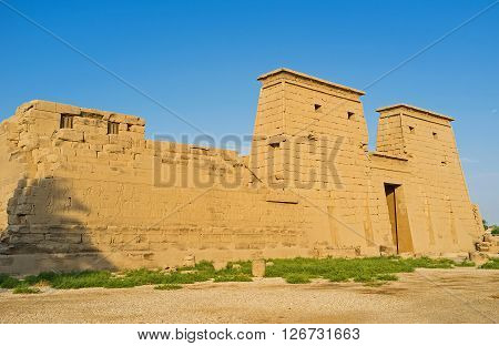 LUXOR EGYPT - OCTOBER 7 2014: The Khonsu Temple dedicated to the ancient God of Moon and located in Karnak Complex  on October 7 in Luxor.