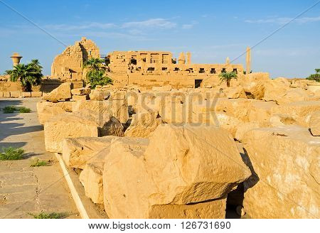 LUXOR EGYPT - OCTOBER 7 2014: The Karnak Temple boasts many picturesque views including columns obelisks ancient temples  on October 7 in Luxor.