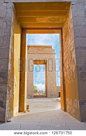 The view through the gates of the Khonsu Temple of Karnak Complex Luxor Egypt.