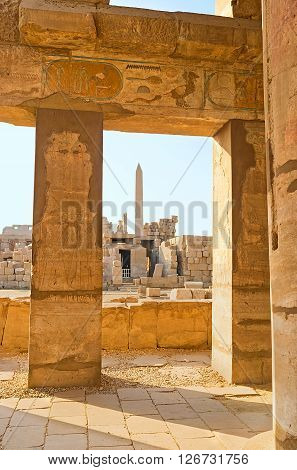 LUXOR EGYPT - OCTOBER 7 2014: The ancient hieroglyphs and paintings decorate the interior of the Festival Temple of Thutmose III on October 7 in Luxor.