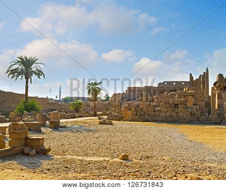 Karnak Temple is the most popular archaeological site of Luxor Egypt.