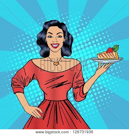 Housewife with Cheesecake. Pop Art Vector illustration