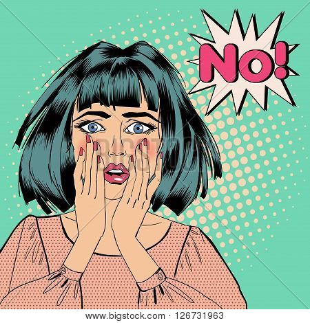 Pop Art Shocked Woman with Bubble Expression No.  Vector illustration