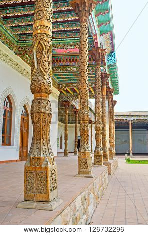 KOKAND UZBEKISTAN - MAY 6 2015: The Jami Mosque is the important object in every tourist route it's the fine example of the Uzbek art and architecture on May 6 in Kokand.